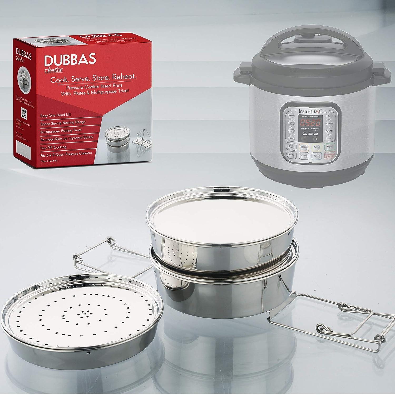 Dubbas - Unique 3 Tier Stackable Insert Pans/Steamer for Instant Pot Cooker PIP w/Lids/Plates & Multipurpose Trivet/Sling to Cook, Serve, Store & Reheat