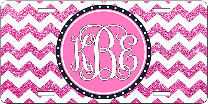 CUSTOM PERSONALIZED VANITY LICENSE PLATE MONOGRAM BLACK AND PINK AUTO TAG