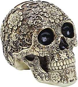Skull Sculpture Flower Human Head Statue Halloween Home Decor Bone Model