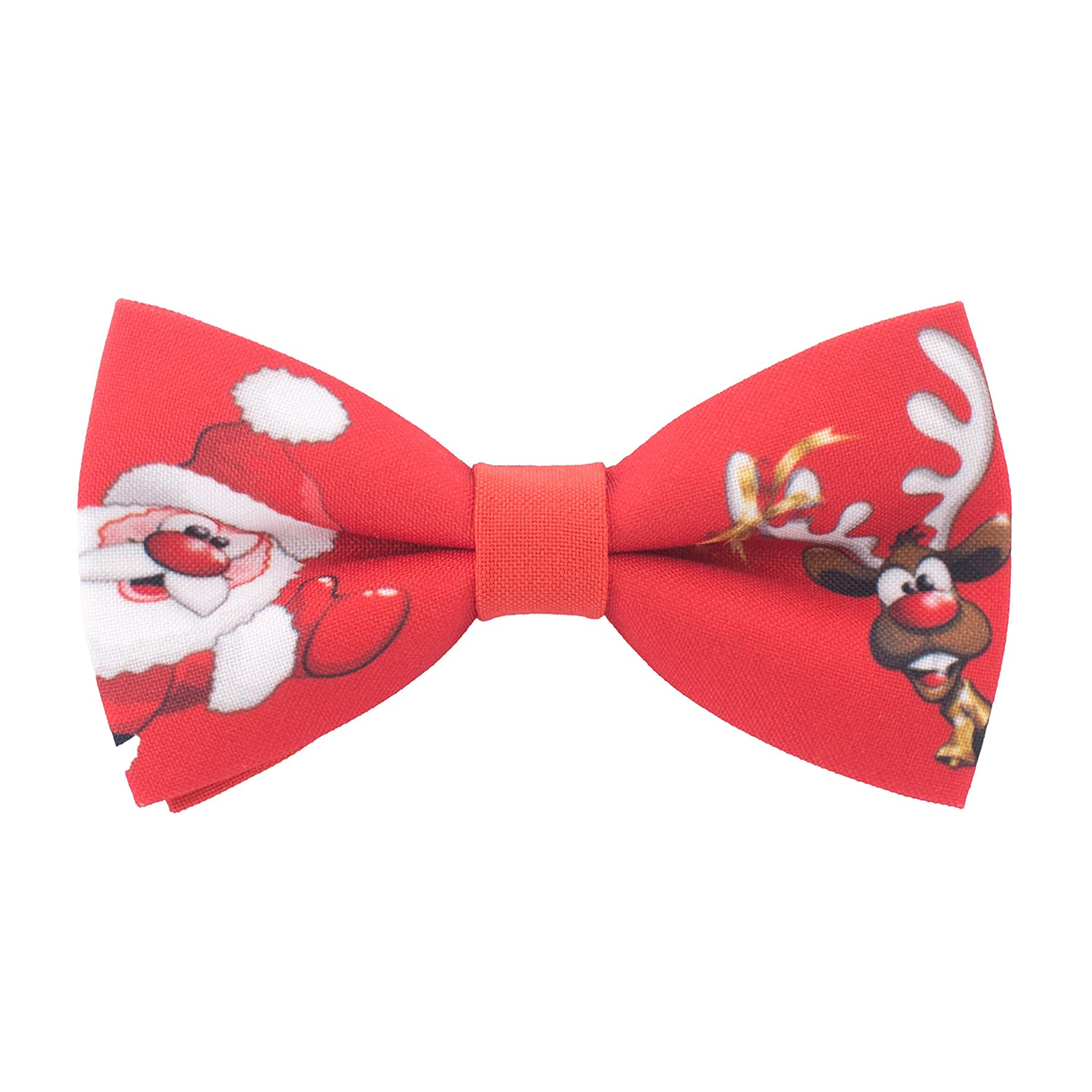 Bow Tie House Red Bow tie pre-tied shape with Christmas Deer & Santa 08711S