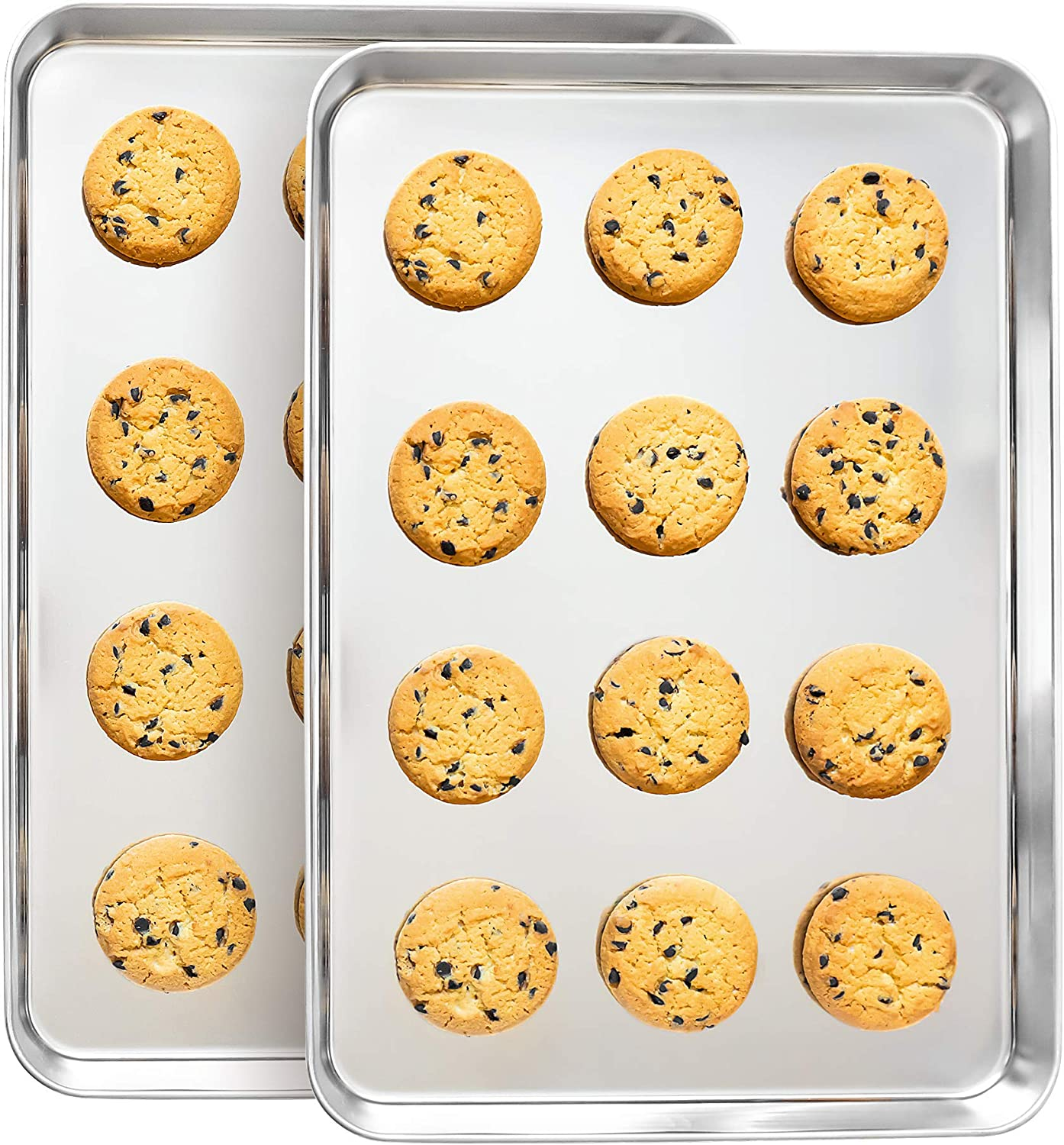 Stainless Steel Baking Trays (Set of 2) - Professional Half-Sheet Cooking, Cookie, Roast Pans - Smooth Mirror Finish, Heavy Duty, Commercial-Grade, Dishwasher-Safe // Willow & Eva