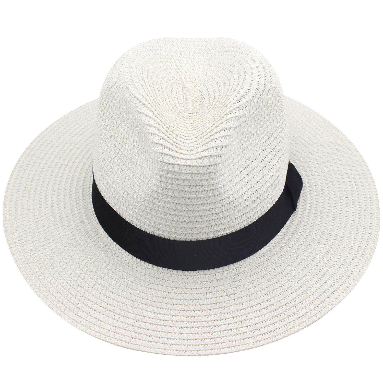 b8643f67b Floppy Straw Hat Large Brim Sun Hat Women Summer Beach Cap Big Foldable  Fedora Hats for Women Girls