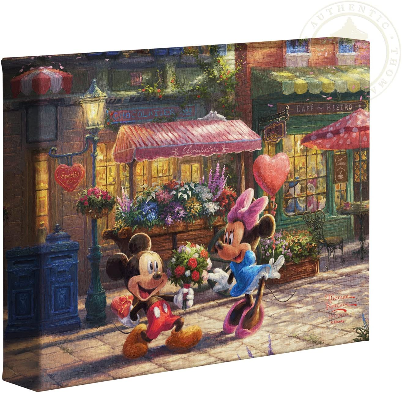 Thomas Kinkade Studios Mickey and Minnie Sweetheart Cafe 8 x 10 Gallery Wrapped Canvas