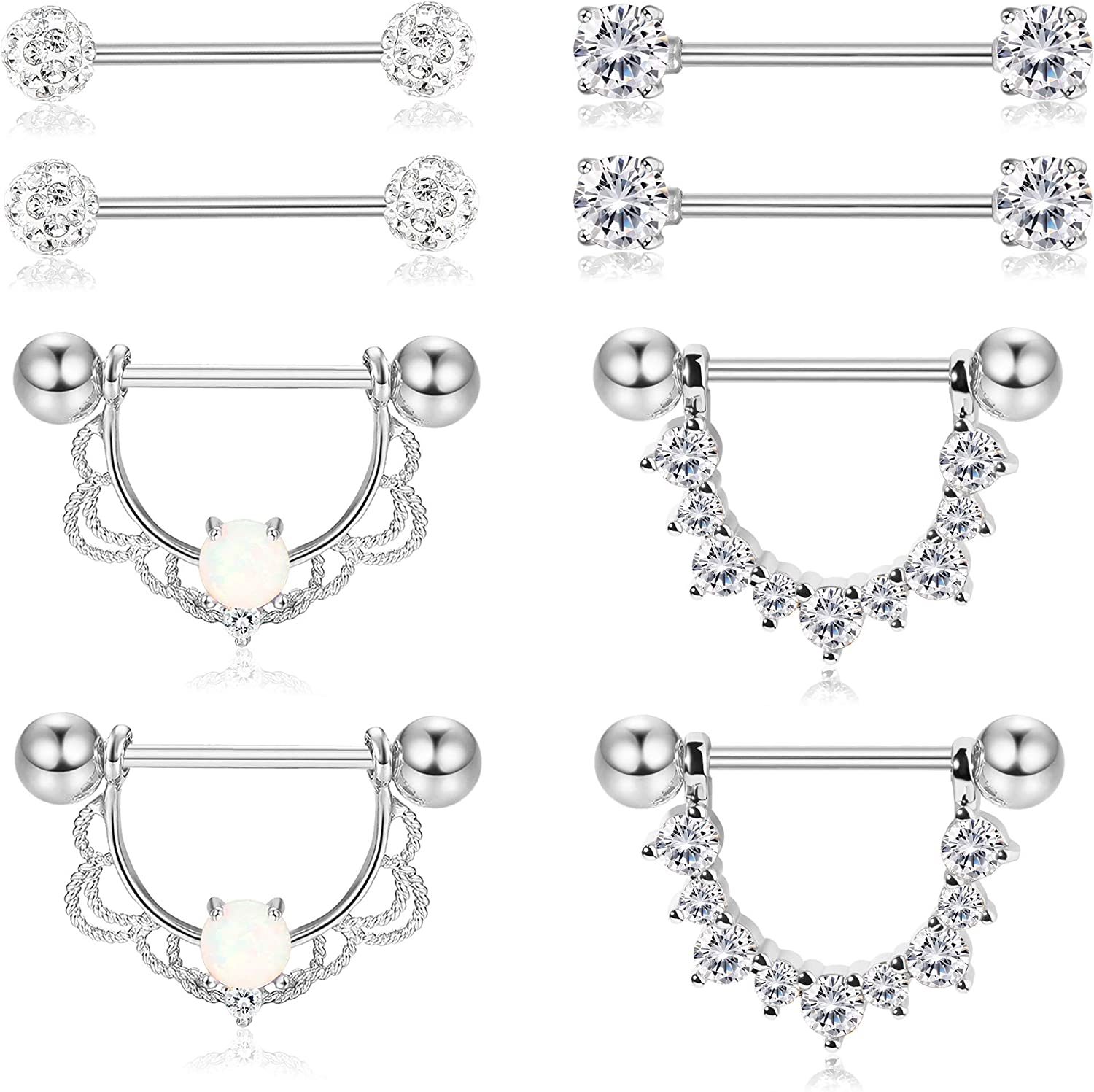 Pair of 14G Super Sparkle Flowers Nipple Piercing Rings Steel Barbells