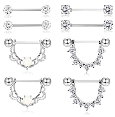 Amazon.com: Fiasaso - 4 pares de piercings para pezón de ...