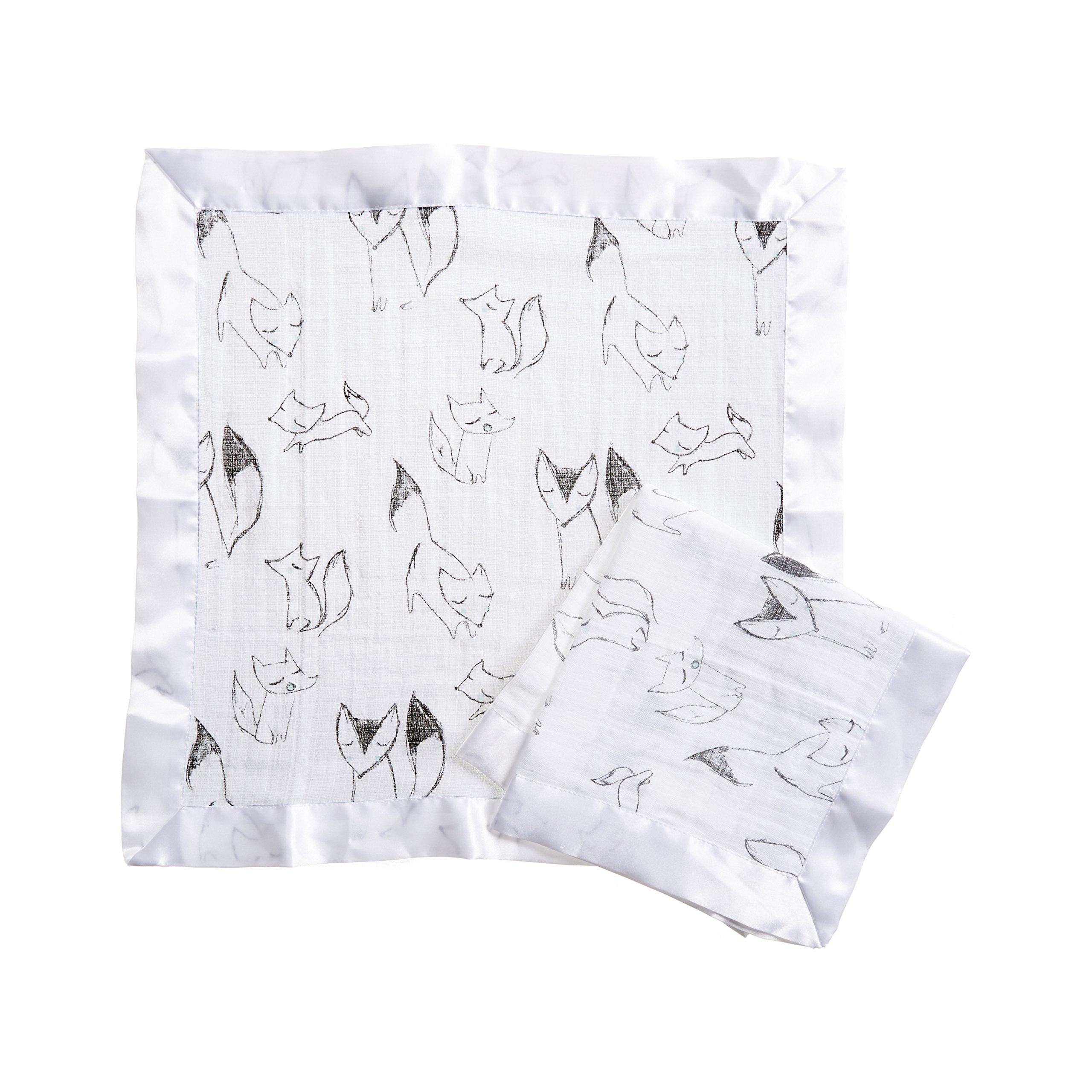 Aden by Aden + Anais Issie Security Blanket, Super Soft 100% Cotton Muslin, 2 Pack, Trotting Fox