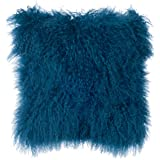 SLPR Mongolian Lamb Fur Throw Pillow Cover (16'' x 16'', Nordic Blue) | Real Fur Decorative Cushion Cover Pillow Case for Living Room Bedroom