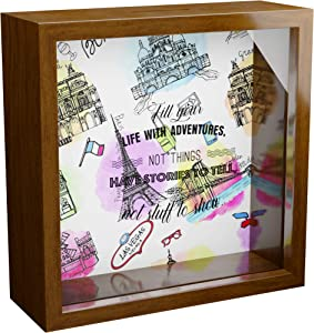 Travel Wall Decor Gifts | 6x6x2 Memorabilia Shadow Box with Glass Front for World Travelers | Wooden Keepsake for Adventure and Explore Lovers | Wood Decorations for Home