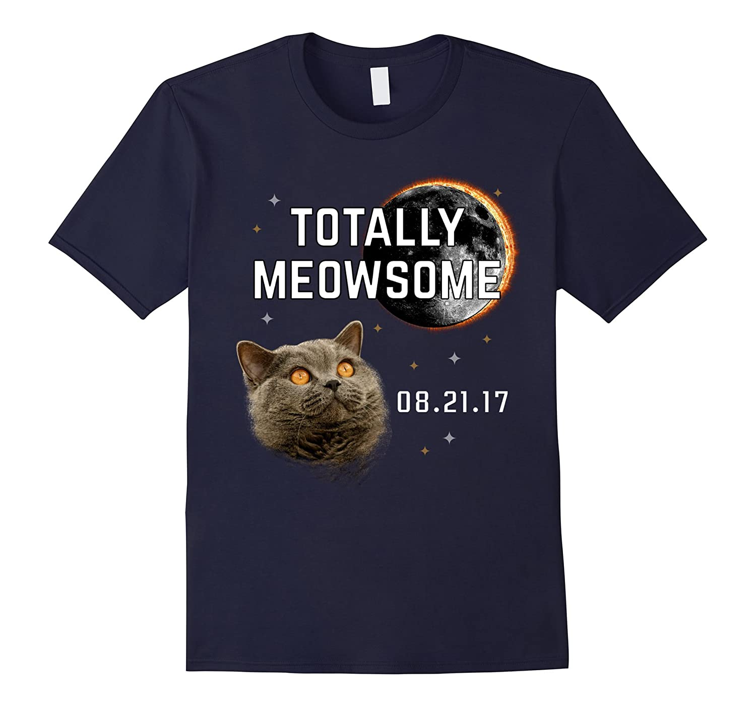 Totally Meowsome Total Solar Eclipse 2017 Cat T-Shirt-BN