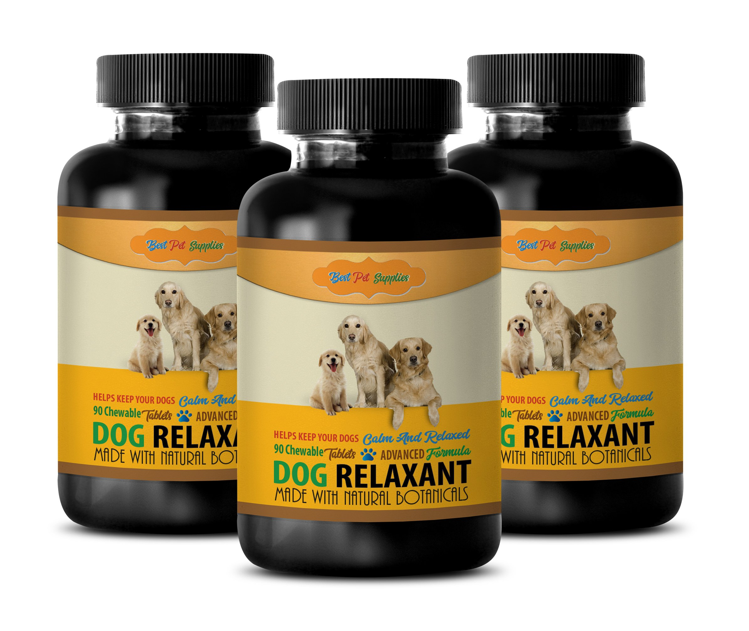 BEST PET SUPPLIES LLC puppy relaxation - DOG RELAXANT - CALM AND RELAXED FOR DOGS - NATURAL BOTANICALS - CHEWABLE - dog calming pills - 270 Chews (3 Bottle)