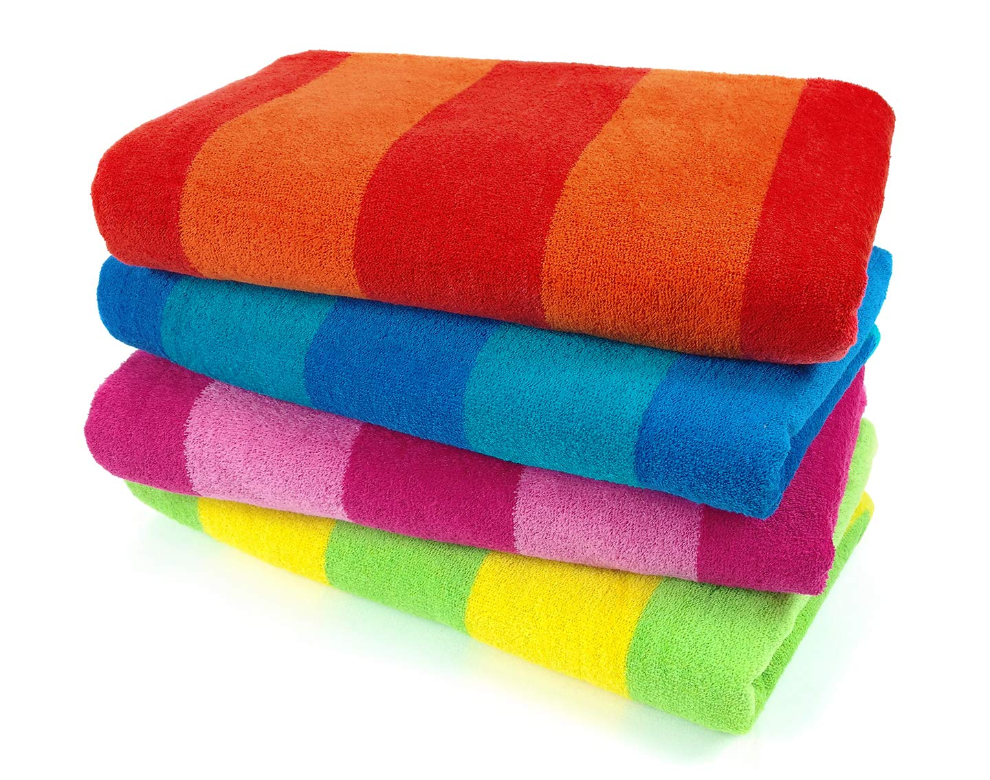 Cotton Velour Striped Beach & Pool Towel 4-Pack  Best Beach Towels
