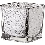 V-More Square Cube Mercury Glass Candle Holder, Votive Candle Holder, Tealight Holder, Flower Vase, 3.15-inch Tall, For Home Decor, Wedding, Party, Celebration (Set of 6, Silver)