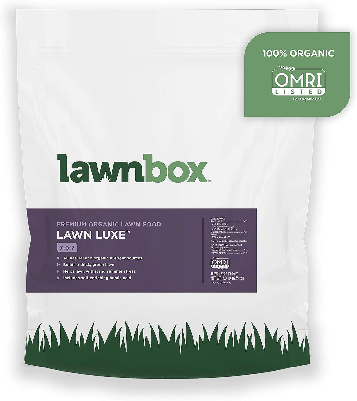 Lawnbox Lawn Luxe 7-0-7 100% Organic Summer Grass Fertilizer 14 lb Bag Covers 2,500 sq ft