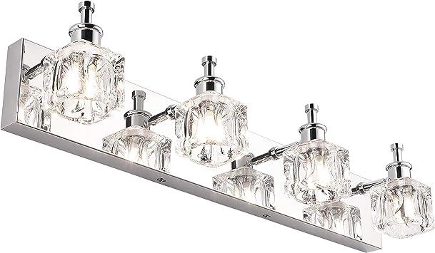Presde Bathroom Vanity Light Fixtures Over Mirror Modern Led 4 Lights Chrome Bath Mirror Lighting Amazon Com