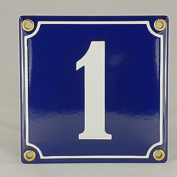 Emaille Schild Hausnummer 1 Blau-Wei/ßHandarbeit
