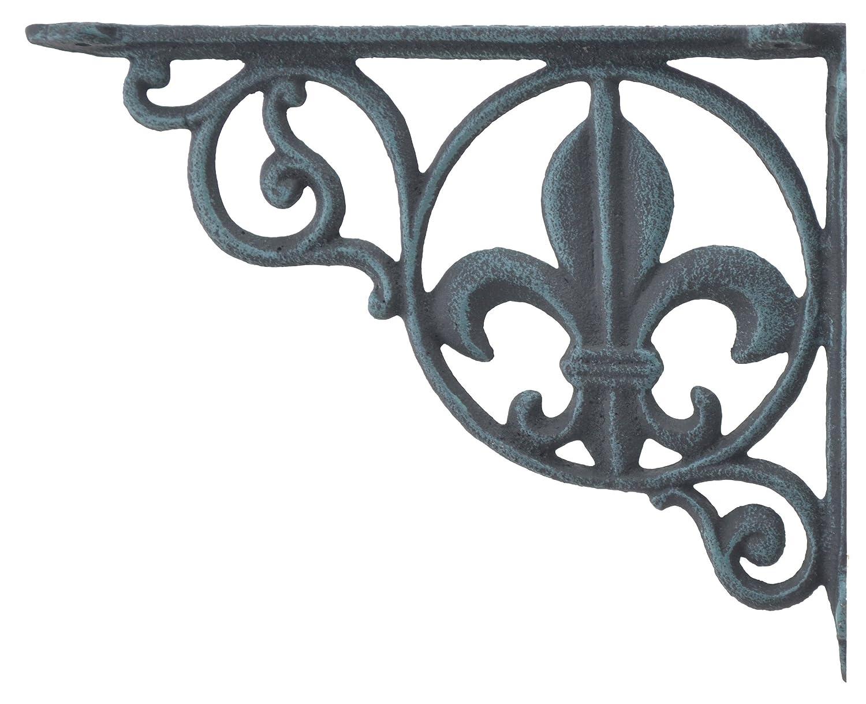 Wall Shelf Bracket Brace Fleur De Lis Pattern Verdigris Cast Iron 8.625 Import Wholesales