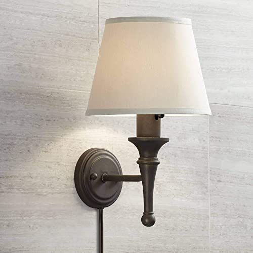Braidy Rustic Farmhouse Wall Mounted Lamp Bronze Metal Plug-in Light Fixture Ivory Cotton Cone Empire Shade
