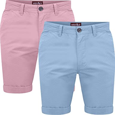 westAce Mens Pack of 2 Chino Shorts Cotton Half Pant Casual Summer Cargo  Combat Short Trousers: Amazon.co.uk: Clothing