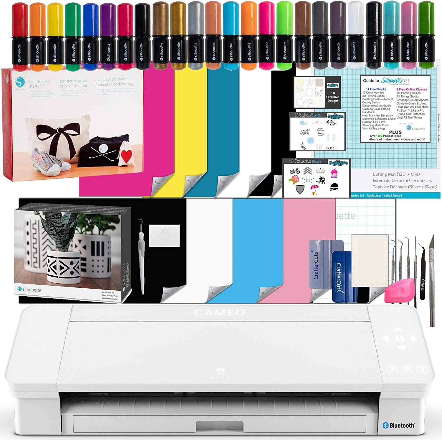Silhouette Cameo 4 White Bundle with Vinyl Starter Kit, Heat Transfer Starter Kit, 2 Autoblade 2, 24 Pack of Pens, CC Vinyl Tool Kit, 120, and Access to Ebooks, Tutorials, Classes