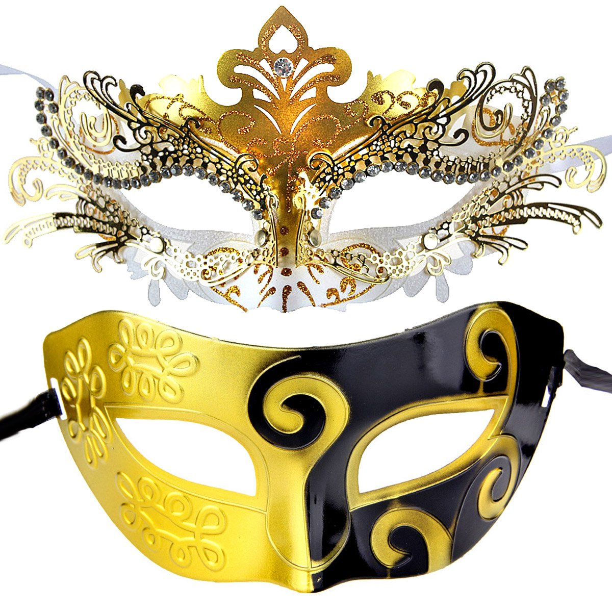 Couple Mardi Gras Venetian Masquerade Masks Set Pretty Party Evening Prom Decorations (gold&black+black) IETANG