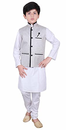 ab78ad6b3c Amazon.com  Boys Indian Modi Nehru Gandhi Style Grey Waistcoats in Jute kids  waistcoat 007  Clothing