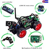 Smart Video Car Kit for Raspberry Pi with Android App, Compatible with RPi 3, 2 and RPi 1 Model B+ (Pi Not Included) (Black)