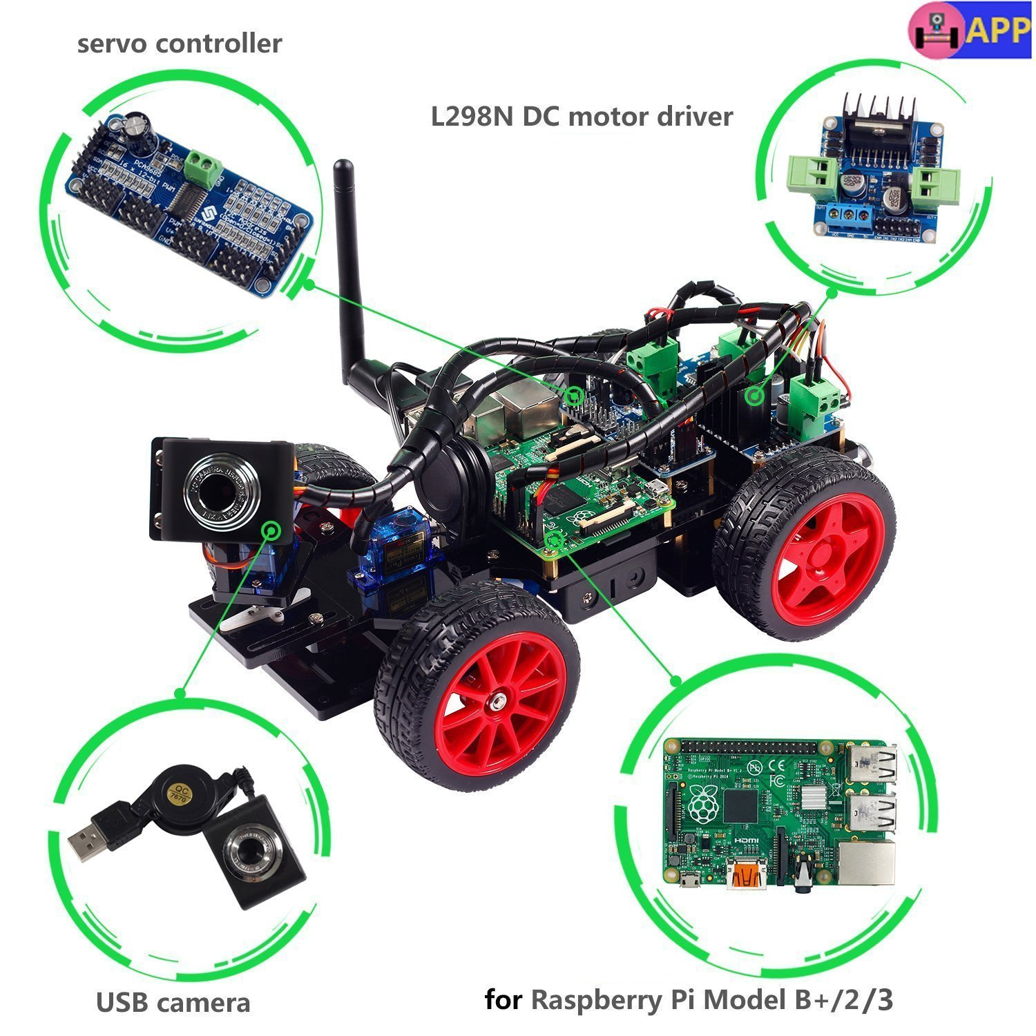 SunFounder Smart Video Car Kit Raspberry Pi DIY Robot Kit for Kids Adults Compatible with Raspberry Pi 4 Model B 3B+ 3B 2B (Pi Not Included) by SunFounder