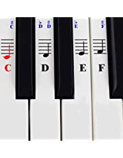 Piano Stickers for 49/61/76/88 Key Keyboards ? Transparent and Removable with Free Piano Ebook