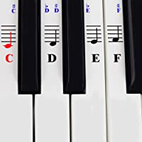 Piano Stickers for 49/61/ 76/88 Key Keyboards – Transparent and Removable with Free Piano Ebook