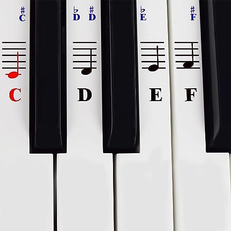 Calcomanías De Piano Para Teclados De 49 / 61/ 76 / 88 Teclas – Transparentes