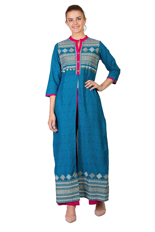 Teel SABHYATA Womens Kurta Indian Kurtis for Women Casual Tunic Kurti Tops Long Dress