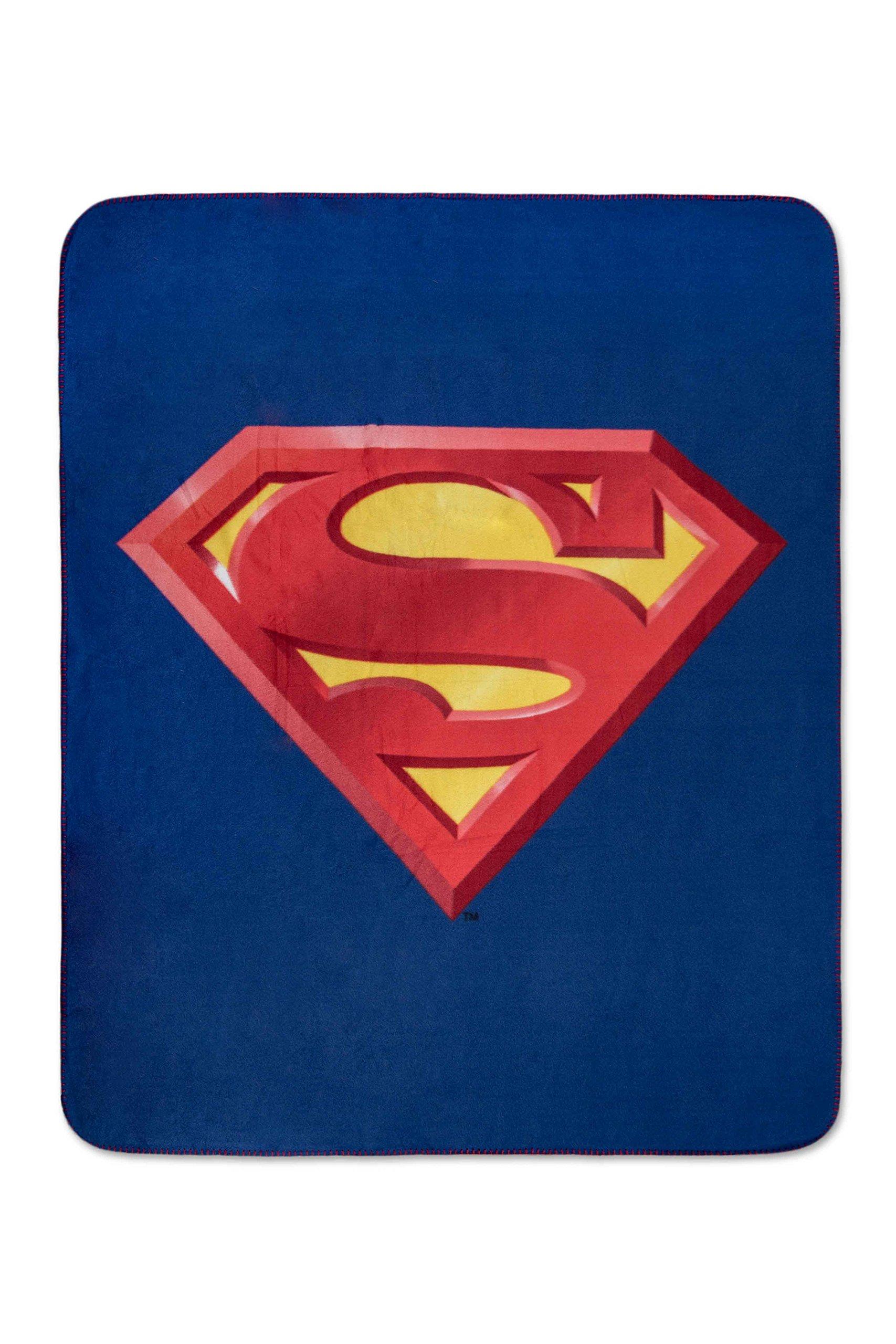 Superman Emblem Luxury Fleece Throw Blanket with Sewn edge Super Soft 50'' x 60'' 100% Polyester Fiber