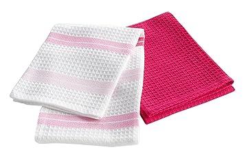 Douceur d intérieur set geschirrtücher pink star baumwolle pink