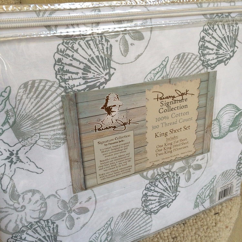 Panama Jack Gray Green King Size SEA Shells Cotton Sheet Set