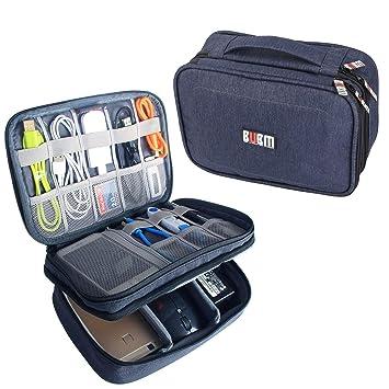 BUBM Estuche para Eléctricas Organizador de Accesesorio Bolsa de Viaje para Cables Cargador,Gadget de Memoria USB Bolsillo para iPad Mini(Mediado, ...
