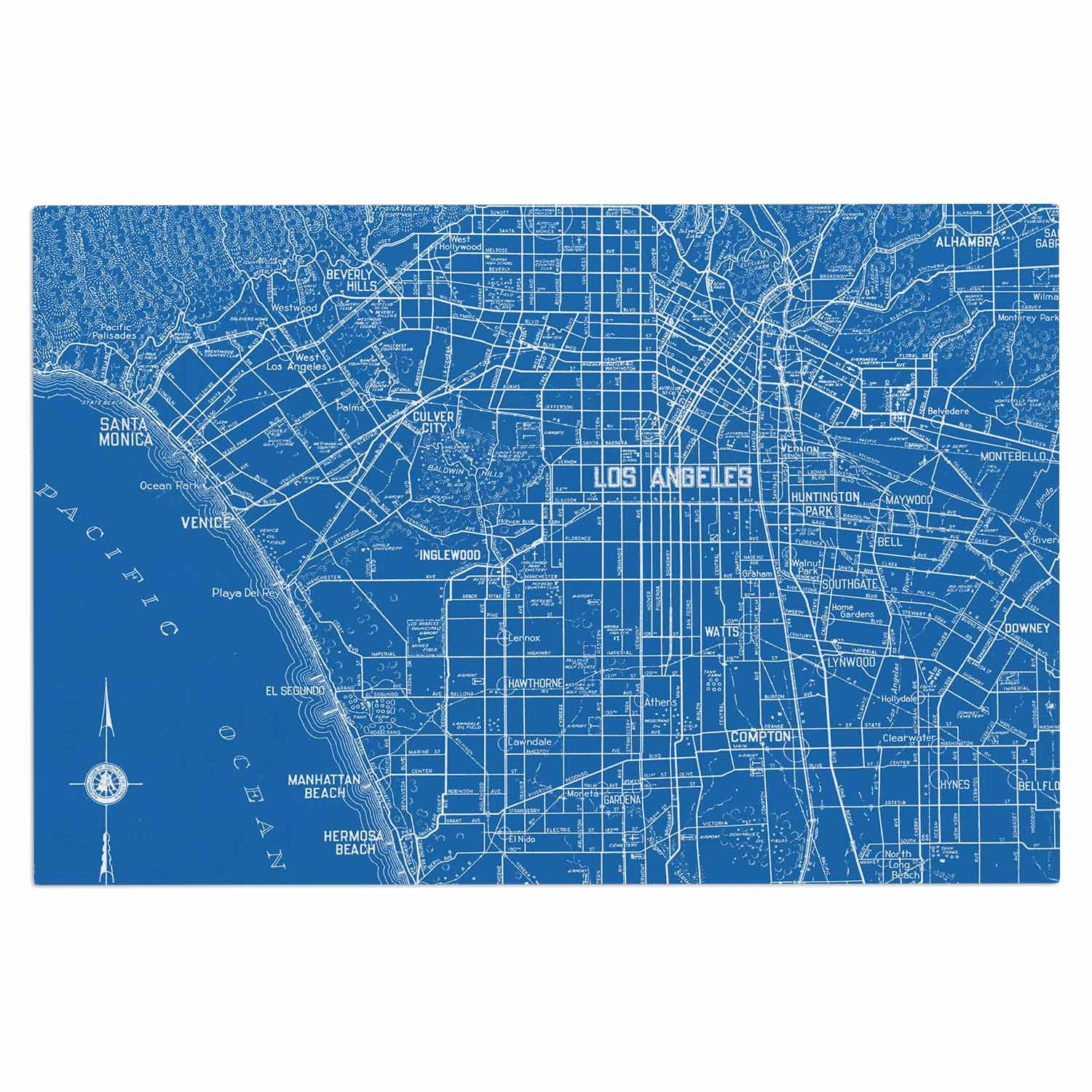 Kess InHouse Catherine Holcombe Los Angeles Streets Blue Map Decorative Door 2 x 3 Floor Mat