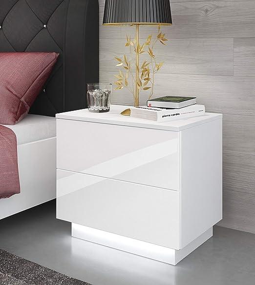 LED Beleuchtung Nachtschrank Kommode Nachttisch Schublade Schlafzimmer Hochglanz