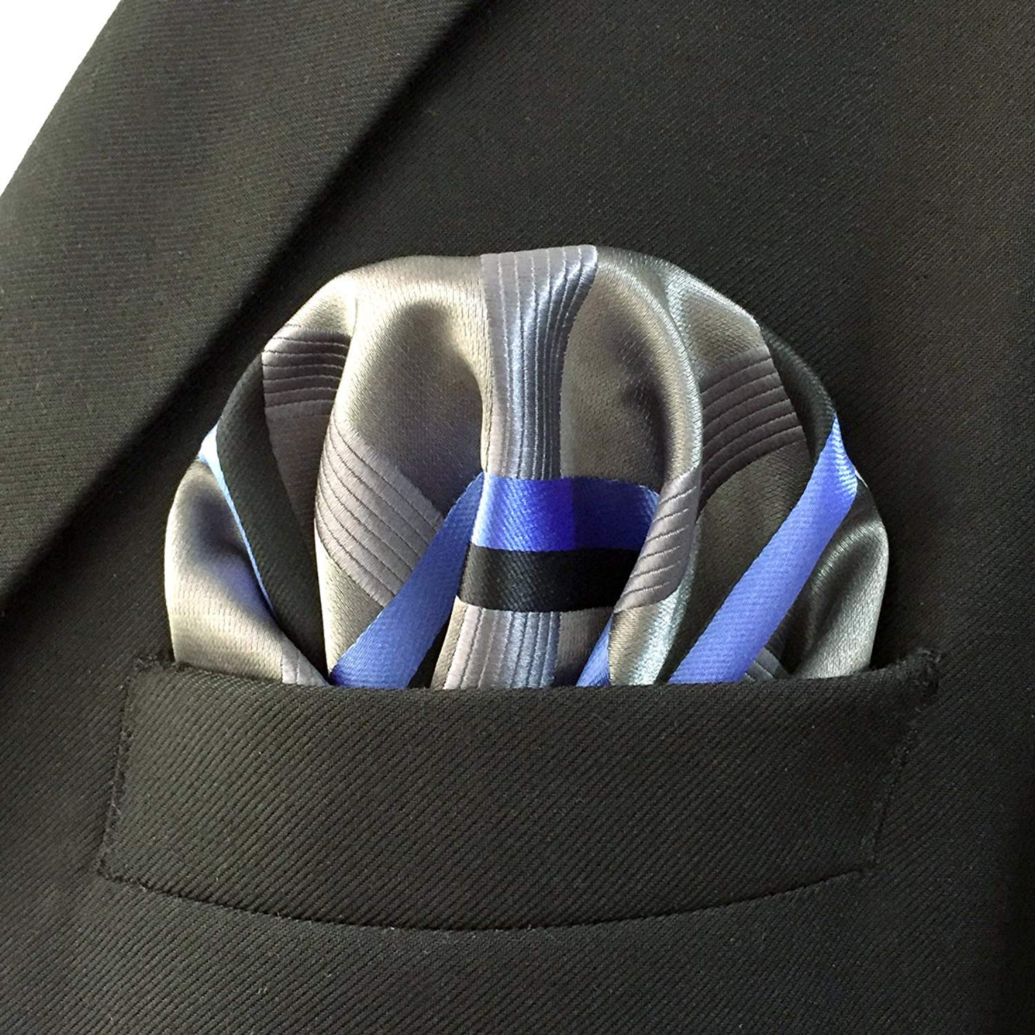 Shlax/&Wing Stripes Mens Hanky Pocket Square Silver Grey Blue Business Silk YH35