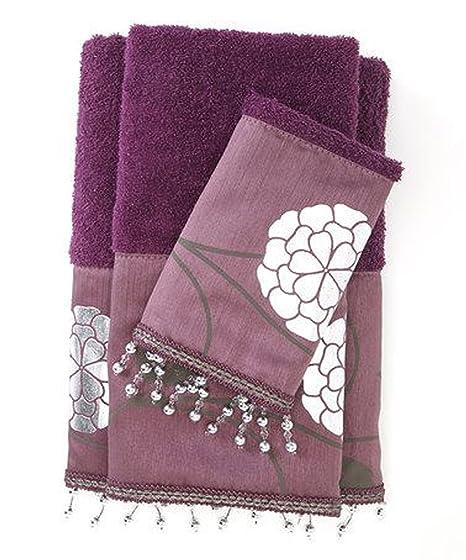 Popular Casa la Avanti colección 3 piezas Juego de toallas, Morado, 19.5 by 13