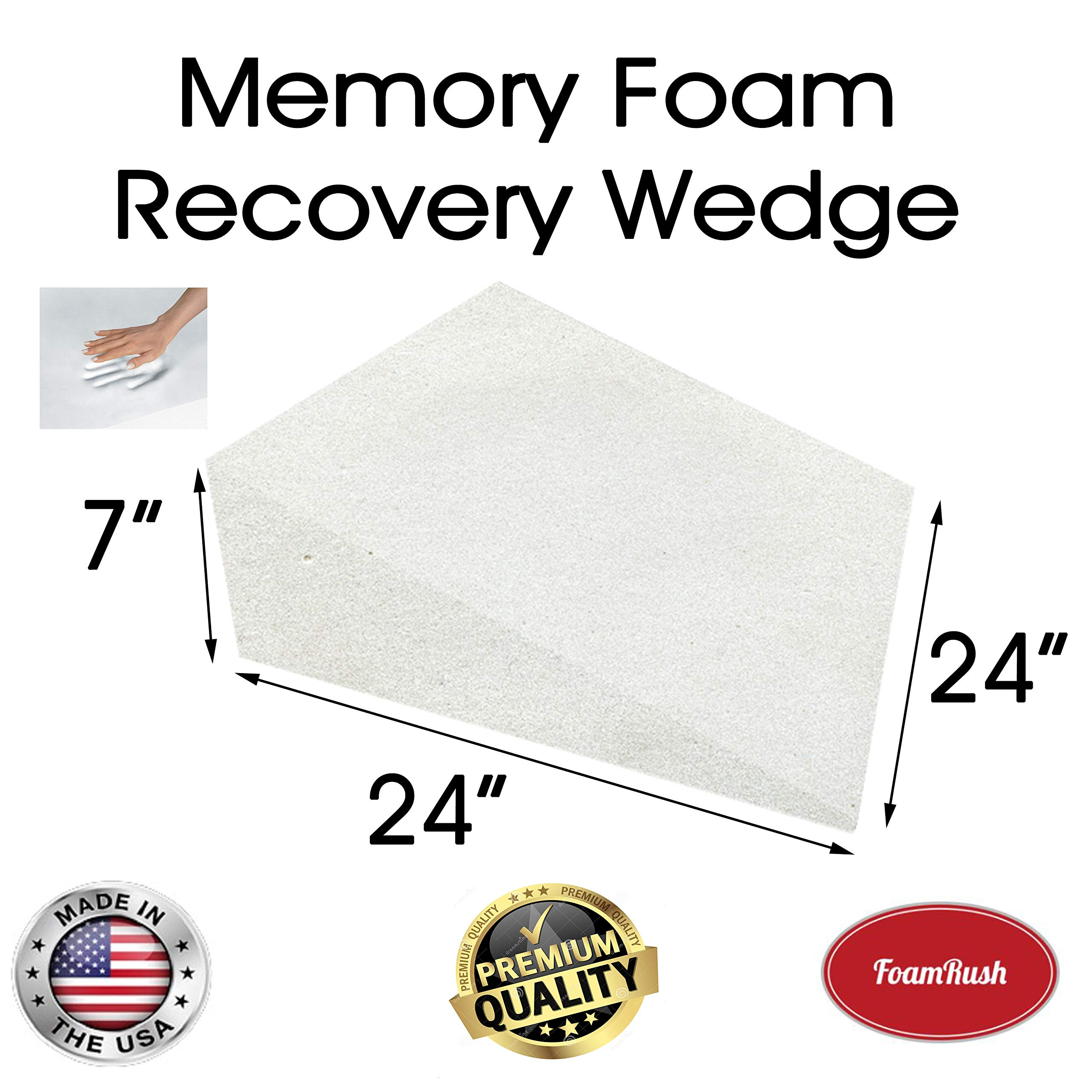 FoamRush 7'' H x 24'' L x 24'' W Premium Quality Therapeautic Memory Foam Bed Wedge Cushion Replacement Best for Sleeping, Reading, Rest or Elevation (Relives Acid Reflux, Snoring & Back Pain) by FoamRush