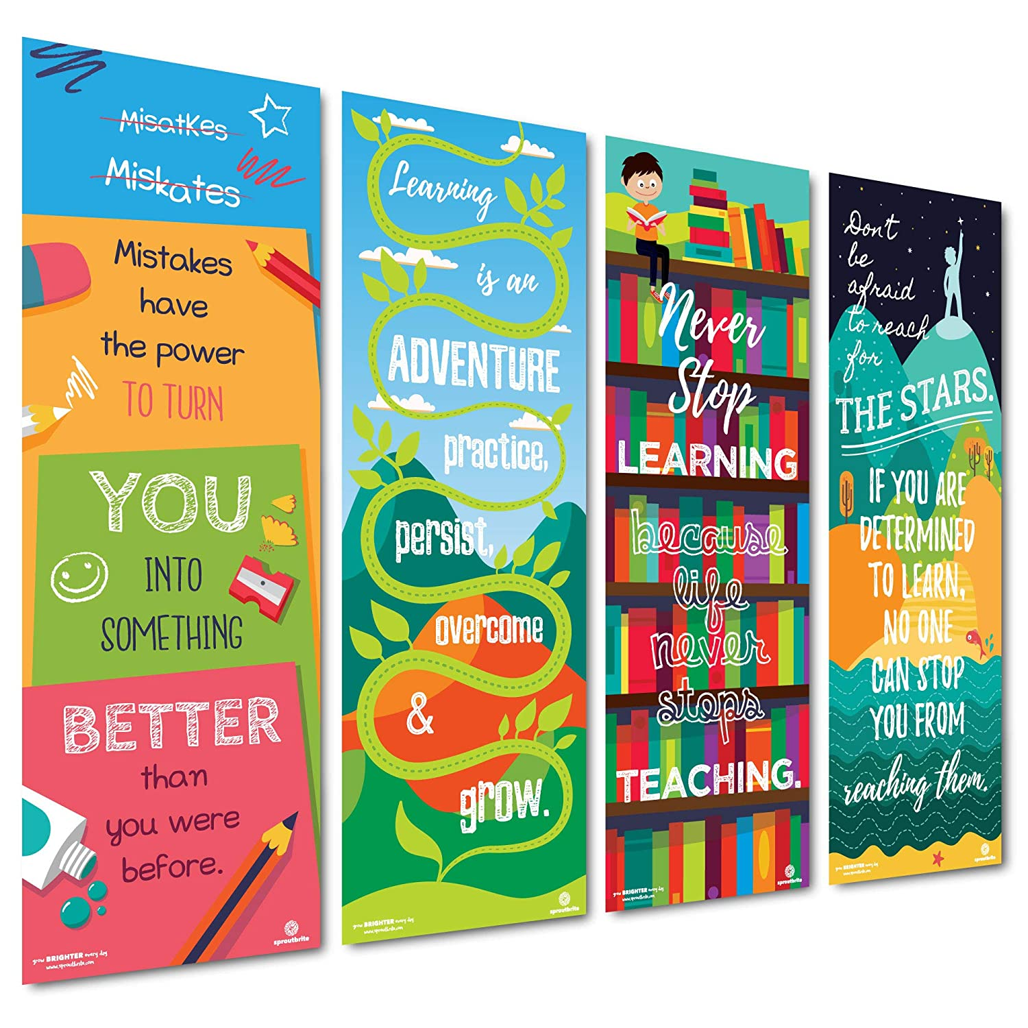Motivational /& Inspirational Growth Mindset for Teacher Students Sproutbrite Classroom Decorations Vertical Banner//Posters 13x39 Each Educational Paper 4 Poster Pack