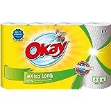 Okay Extra Long - Essuie-tout compact Blanc (XXL 4=6) - lot de 2 paquets de 4 rouleaux