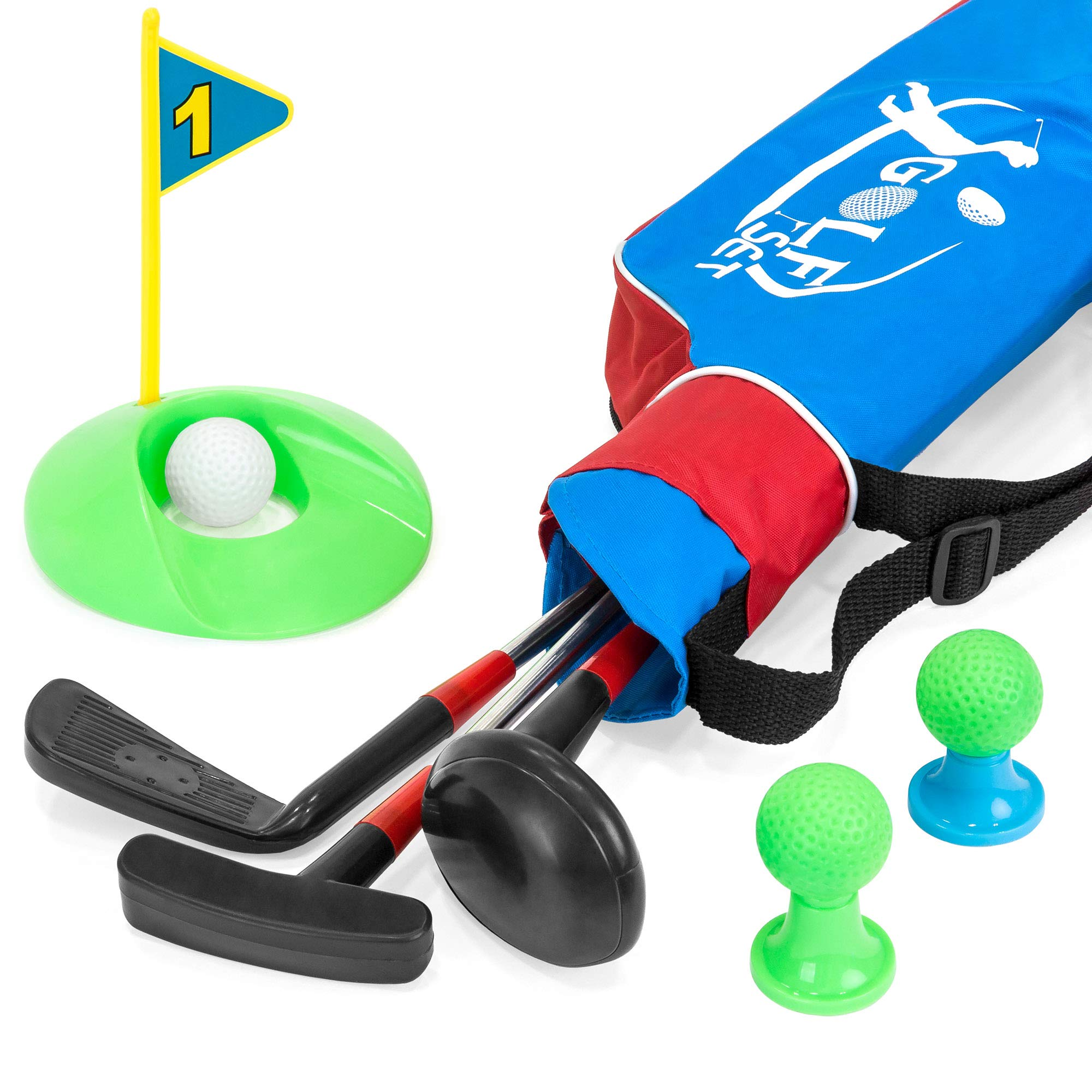 Best Choice Products 13-Piece Kids Golf Set w/ 3 Clubs, 3 Balls, Tees, Hole, and Carrying Bag - Multicolor by Best Choice Products