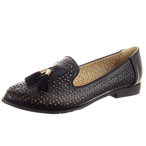 Sopily - Zapatillas de Moda Mocasines Zapato Acento Tobillo Mujer Perforado Talón Tacón Ancho 2 CM - Negro FRF-BL91 T 41: Amazon.es: Zapatos y complementos