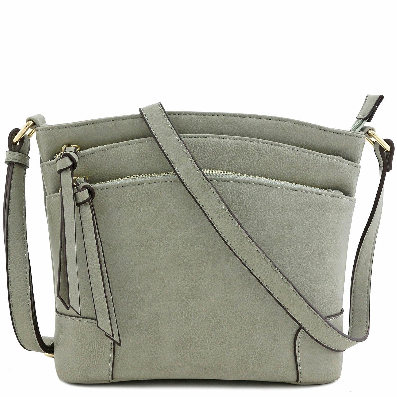 Grey Triple Zipper Pocket Medium Crossbody Bag