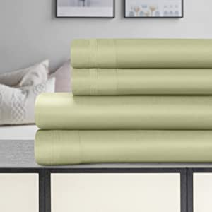 SUPERIOR Cotton Bed Sheet Set Solid 1500 Thread Count Egyptian, Queen, Sage