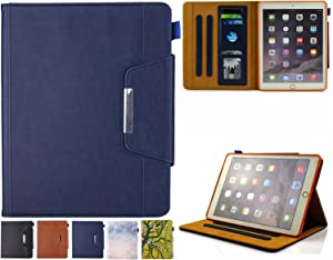 JZCreater iPad 9.7 Case 2018/2017, iPad Air/Air 2 Case Folio Stand Multi Angle Viewing Wallet Case Cover with Auto Sleep/Wake for New iPad 9.7 2017/2018, iPad Air 1/2, Blue