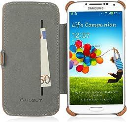 StilGut Custodia esclusiva Slimcase in similpelle con scomparto carte di credito per Samsung Galaxy S4 i9500 e i9505 - cognac