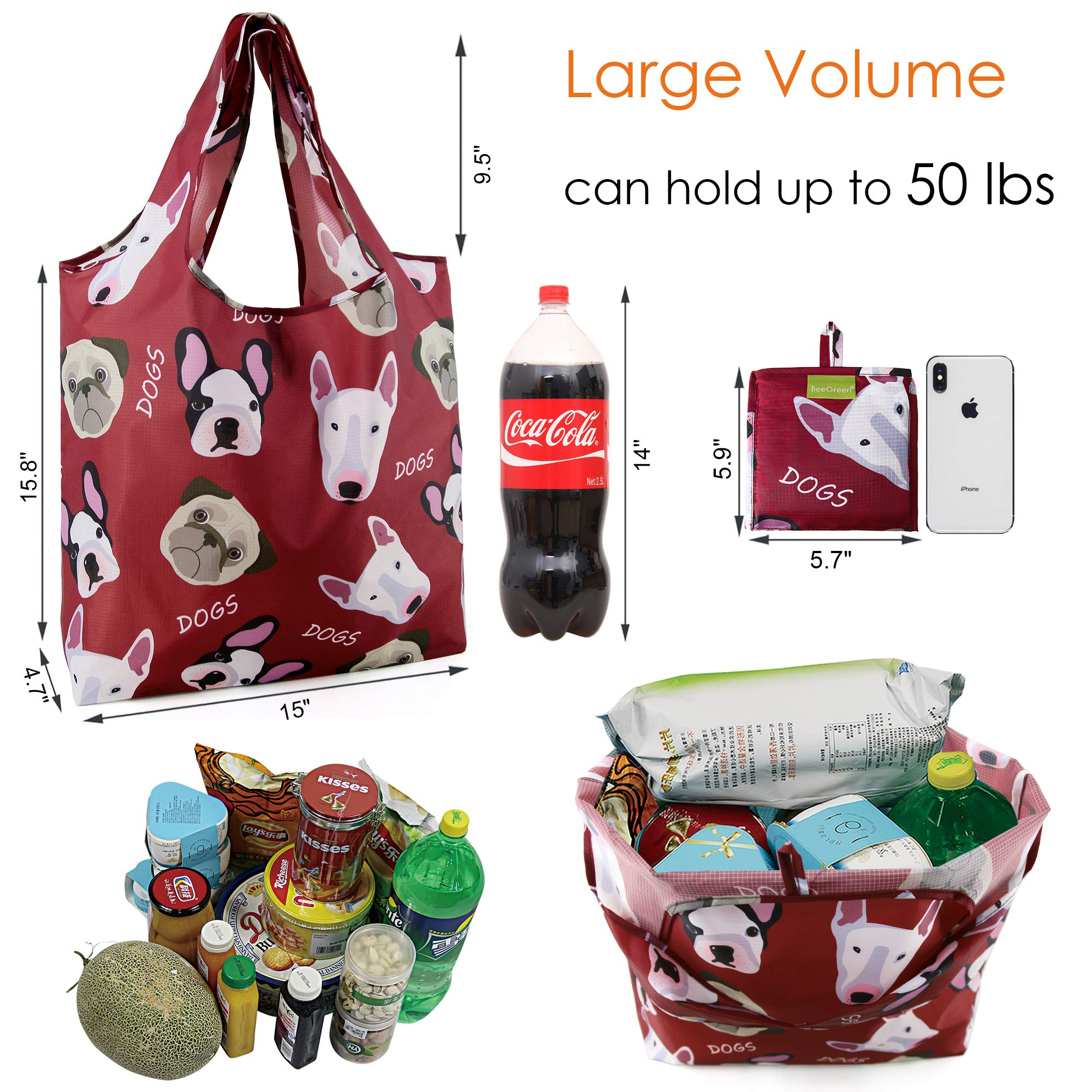 Grocery Bags Reusable Foldable 6 Pack Shopping Bags Large 50LBS Cute Groceries Bags with Pouch Bulk Ripstop Waterproof Machine Washable Eco-Friendly Nylon Elephant Hedgehog Cat Turtle Dog Penguin by BeeGreen (Image #2)