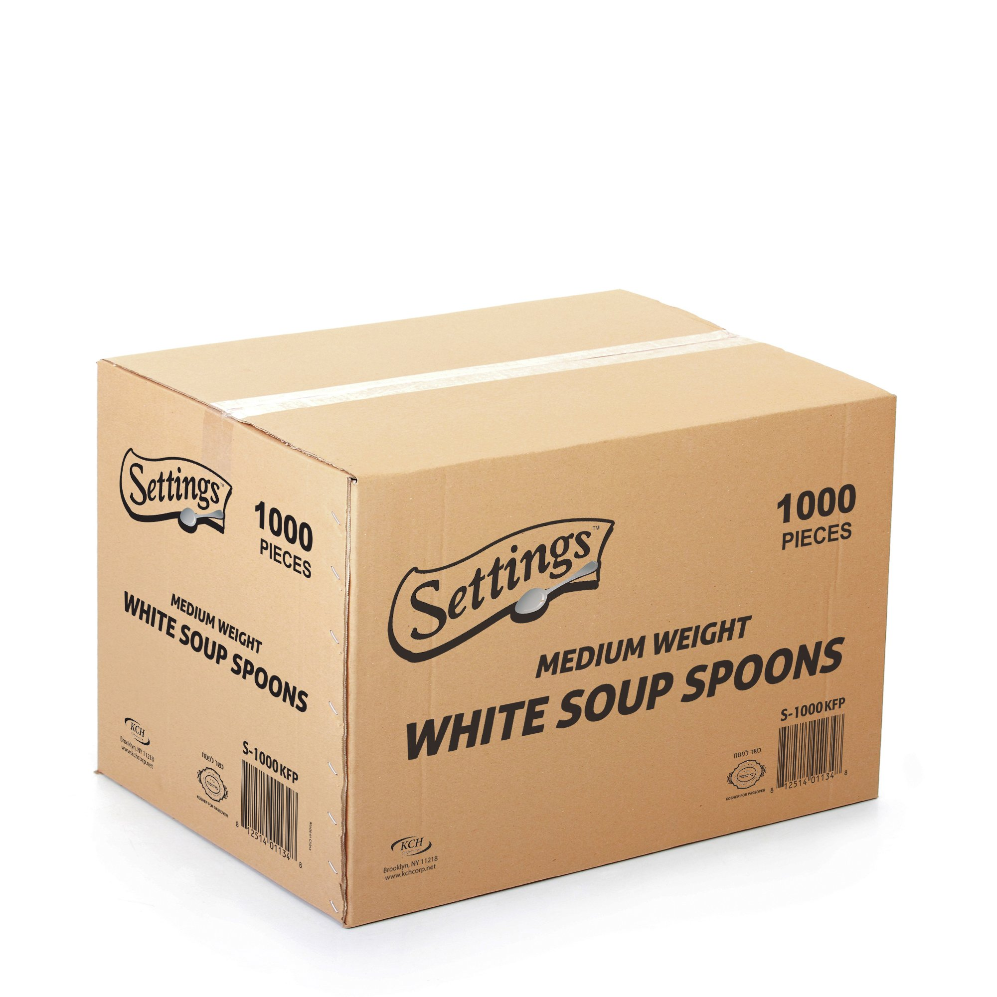 [1000 Count] Settings Plastic White Soup Spoons, Practical Disposable Cutlery, Great For Home, Office, School, Party, Picnics, Restaurant, Take-out Fast Food, Outdoor Events, Or Every Day Use, 1 Box by Settings